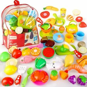 Cutting Pretend Play Food Toy Kitchen Set Learning Toys For Toddlers Boys Girls