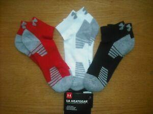 """Mens NWT Under Armour Low-Cut Socks 3prs B-W Red """"UA HEATGEAR"""" Arch Support Sz:L"""