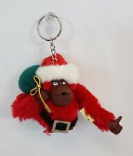RARE Vintage KIPLING Thumb Sucking SANTA CLAUS Furry MONKEY Plush Keychain MINT