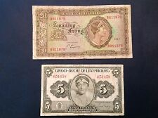 Luxembourg 1943 20 Francs & 1944 ND 5 Francs P 42 & P 43