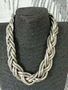 Silver Tone Chunky Large Bold Necklace Statement Lagenlook Woven Link Style