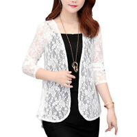 Women Sheer Open Front Cardigan Jacket Ladies Formal Suit Blazer Lace Coat Top