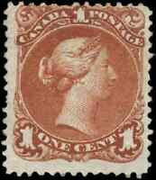 Canada #22 mint F part OG 1868 Queen Victoria 1c brown red Large Queen CV$400.00