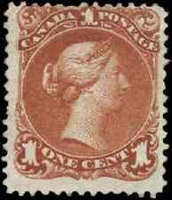 Canada #22 mint F part OG 1868 Queen Victoria 1c brown red Large Queen CV$400.00