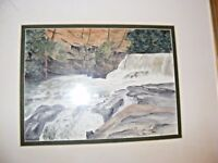 WATERCOLOUR GOUACHE PAINTING OF ABERDULAIS FALLS BY KATHLEEN HALL WELSH ARTIST