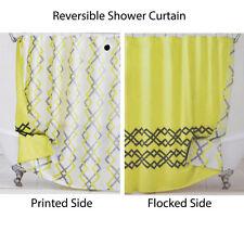 Reversible Fabric Shower Curtain: Yellow, White, Gray, IKAT Design