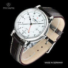 Zeppelin 41mm Nordstern Series German Made Swiss Quartz GMT Leather Strap Watch