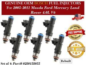 6 Fuel Injectors OEM Bosch for 2005-2011 Mazda Ford Mercury Land Rover 4.0L V6