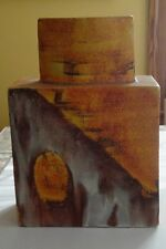 "Signed MCM Modern Fantoni Abstract Drip Glaze Earth Tone 13"" Pottery Vase Italy"