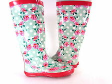 REDFOOT WALK IN THE PARK FESTIVAL WOMEN'S RAIN WELLY BOOTS,FLORAL, US SZ 8, NEW,