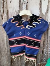 Vintage Blue, Black,Red, Pink & Off White Mexican Or Southwestern Child's Serape