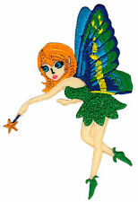 am65 Grün Elfe Schmetterling Fee Zauberstab Aufnäher Bügelbild Patch 7 x 10,3 cm