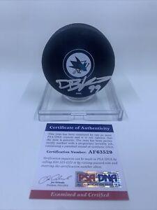 DeForest Buckner Signed San Jose Sharks Hockey Puck PSA/DNA San Francisco 49ers