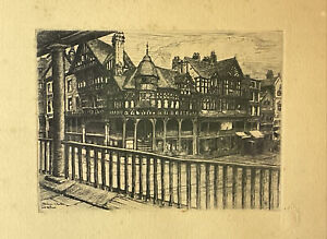 ANTIQUE ETCHING PICTURE PRINT THE CROSS CHESTER ENGRAVING PHILLIPSON & GOLDER
