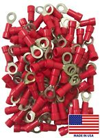 (500) Vinyl 22-18 AWG Gauge #10 Stud Ring Terminal Insulated Red Wire Connector