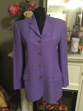 EUC RALPH LAUREN BLACK LABEL LAVENDER PURPLE BUTTON SILK JACKET BLAZER WOMENS 8