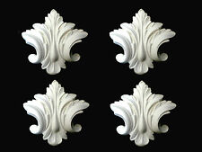 FOUR ORNATE AND DECORATIVE FURNITURE / MIRROR MOULDINGS WHITE PLASTER LEAFS