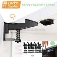 10PCS Cabinet Drawer Cupboard Locks Catch for Baby Kids Safety Child Proofing