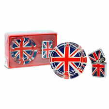 Union Jack Wind Resistant Lighter and Glass Ashtray Gift Set - Boxed Britannia