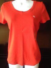 Ralph Lauren women's Stretch-cotton Crew neck Cabana Orange Sz S  T-shirt NWT
