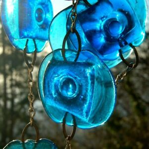 Erik Hoglund Blue Pressed Glass Circle in Square Pendant Chain