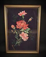 Ancienne peinture sur soie encadrée nature morte florale «ROSES» signé M.BOURBON