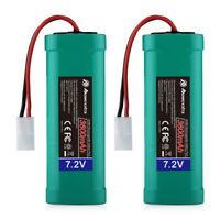 2 Pack 7.2V 3600mAh Battery 6-Cell NiMH Tamiya Plug For RC Car RC Truck Airplane