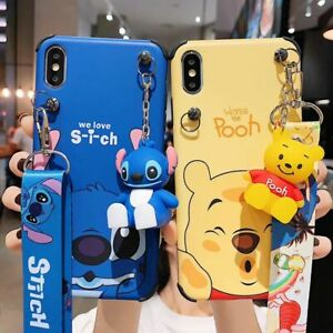 For iPhone 11 12 Pro Max XR 8 Cute Disney Rugged Case Cover & Doll Stand & Strap