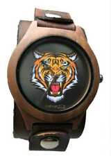 Vbst262T Nemesis nature wood case happy tiger face tatto face vintage leather