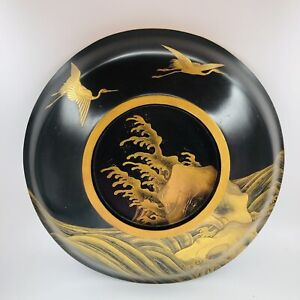 Vintage Japanese Black Wooden Wood Lacquer Bowl Gold Cranes Waves 10""