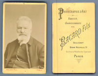 Bacard, Paris, Victor Hugo Vintage carte de visite, CDV  Tirage albuminé  6,
