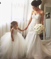 Ivory Crochet Lace Tulle flower girl dress & bridal gown , UK tailor made