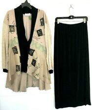Vintage AHNI Skirt SET Jacket Asymmetrical HAND-PAINTED Art To Wear Lagenlook Lg