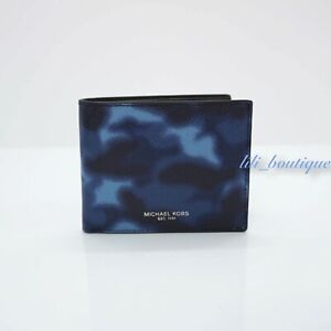 NWT Michael Kors Mens Kent Slim Billfold Wallet Leather Indigo Camo Blue No Box
