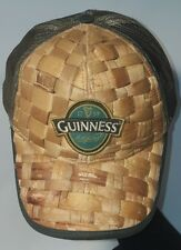 Guinness Beer Straw Woven Trucker Dad Hat cap with green Mesh Snapback