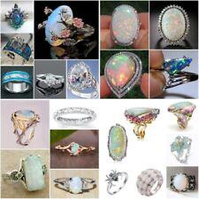 Fashion 925 Silver Rings Women Jewelry Oval Cut Fire Opal Wedding Ring Size 6-10