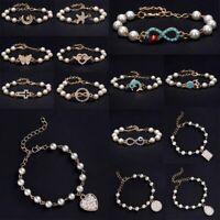 Women Jewelry Pearl Love Heart Rhinestone Bracelet Bangle Fashion Charm Gifts