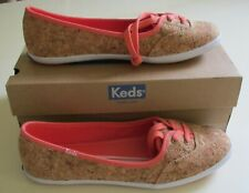 Womens 8.5 M Keds Shoes Cork Flat Ballet Slip-on Sneakers Coral Peach