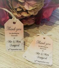 Wedding Favour Thank You Tags -  Rose Gold Marble effect, personalised x 10
