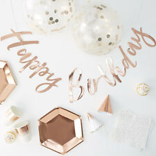 16 PERSON ROSE GOLD PARTY PACK - Party in a Box Cups Napkins Plates Hats & Decor