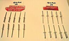 """20 pieces Aluminum Pop Rivets 10 each 1/8"""" x 5/8"""" & Large Flange 1/8"""" x 5/8"""" New"""