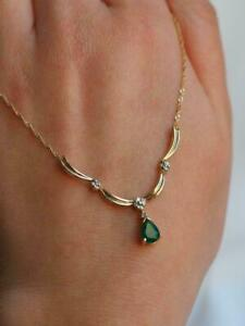 "Elegant Vintage Colombian Emerald and Diamond 14K Yellow Gold Over 18"" Necklace"