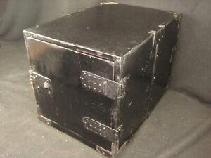 ANTIQUE JAPANESE EDO ERA (c.1750) BLACK LACQUER DOUBLE ENDED TANSU CHEST