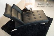 Moderne bauhaus chaiselongue lit avec acier poli cadre. cuir véritable noir