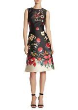 NWT TERI JON Sleeveless BEADED embellished FLORAL Sequin PRINT SATIN DRESS SZ 8