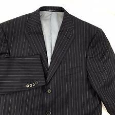 ERMENEGILDO ZEGNA Su Misura Jacket Men 40R Wool Silk 3 Button Striped Black