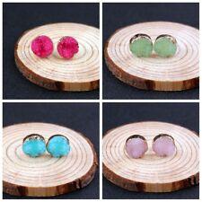 Natural Resin Stone Round Multi Color Ear Stud Raw Crystal Druzy Quartz Earrings