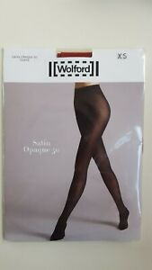 WOLFORD SATIN OPAQUE 50 den luxury TIGHTS XS xsmall in HOLLY BERRY RED shimmer