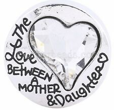 Clear Rhinestone Heart Love Mother Daughter 20mm Snap Charm For Ginger Snaps
