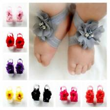 Baby Girls Rhinestone Wrist Flower Foot Band Barefoot Sandals Shoes Photo Prop